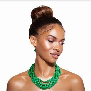 Green Flat Bead Necklace Set